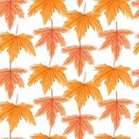 hojas de arce sin costura patrón de acuarela