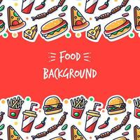 Background with Different Fast Food vector