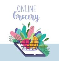 Grocery store online with phone and a basket of produce banner