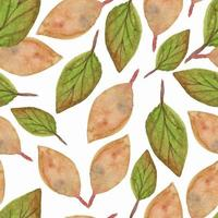 Watercolor dry leaves seamless pattern vector