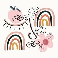desenho à mão contemporâneo de frutas e várias formas