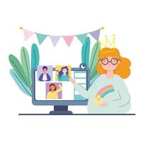 Online party and celebration via video call vector