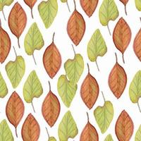 Repeat pattern with watercolor leaves