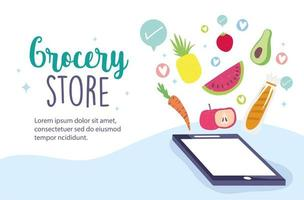 Grocery store online banner template with phone and veggies