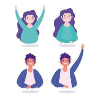 Young man and woman characters portrait icon set