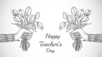 Hand with Bouquet of Flowers Sketch Teachers Day vector