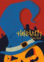 pôster de halloween com abóbora e chapéu de bruxa