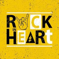 Rock in heart poster vector