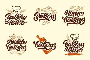 Bakery color logotype set vector