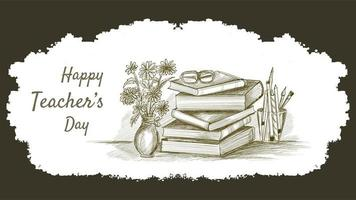 World Teachers Day Composition Hand Drawn Sketch Background vector