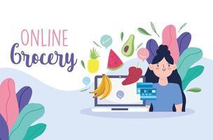 Plantilla de banner en línea de tienda de comestibles con computadora portátil, tarjeta de crédito y verduras vector