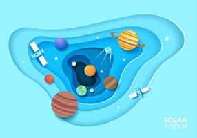 sistema solar em estilo de arte recortada