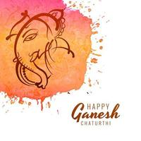 Line Strokes Ganesh Chaturthi Festival Watercolor Background vector