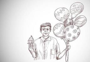 Happy Birthday Guy Looking with Holding Balloons and Cupcake Sketch
