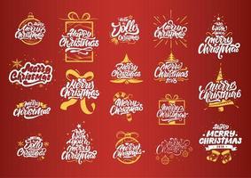 Merry Christmas lettering set vector