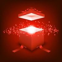 Open gift box with red ray light vector