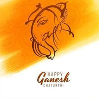 Line Ganesh Chaturthi Card Festival Yellow Brushstroke vector