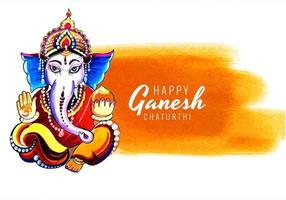 Yellow Paint Wash Ganesh Chaturthi Card Background