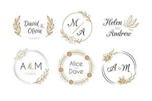 Wedding Monogram Logos Template Collection vector