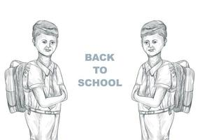 Hand Drawn Sketch Child with School Bag with Back to School vector