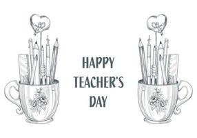 Let's Celebrate Happy Teacher's Day Cup and Pencil Sketch Design vector