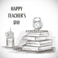 Hand Drawn Sketch Happy Teachers Day Composition vector