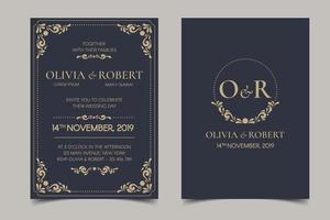 Retro Wedding Invitation on Dark Background vector