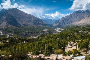 Aerial landscape view of Hunza Nagar Valley