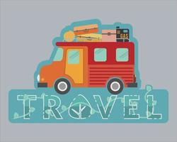 Recreation vehicle design for travel agency sticker vector