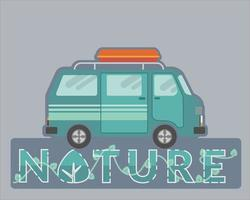 Recreation vehicle design for nature travel  vector