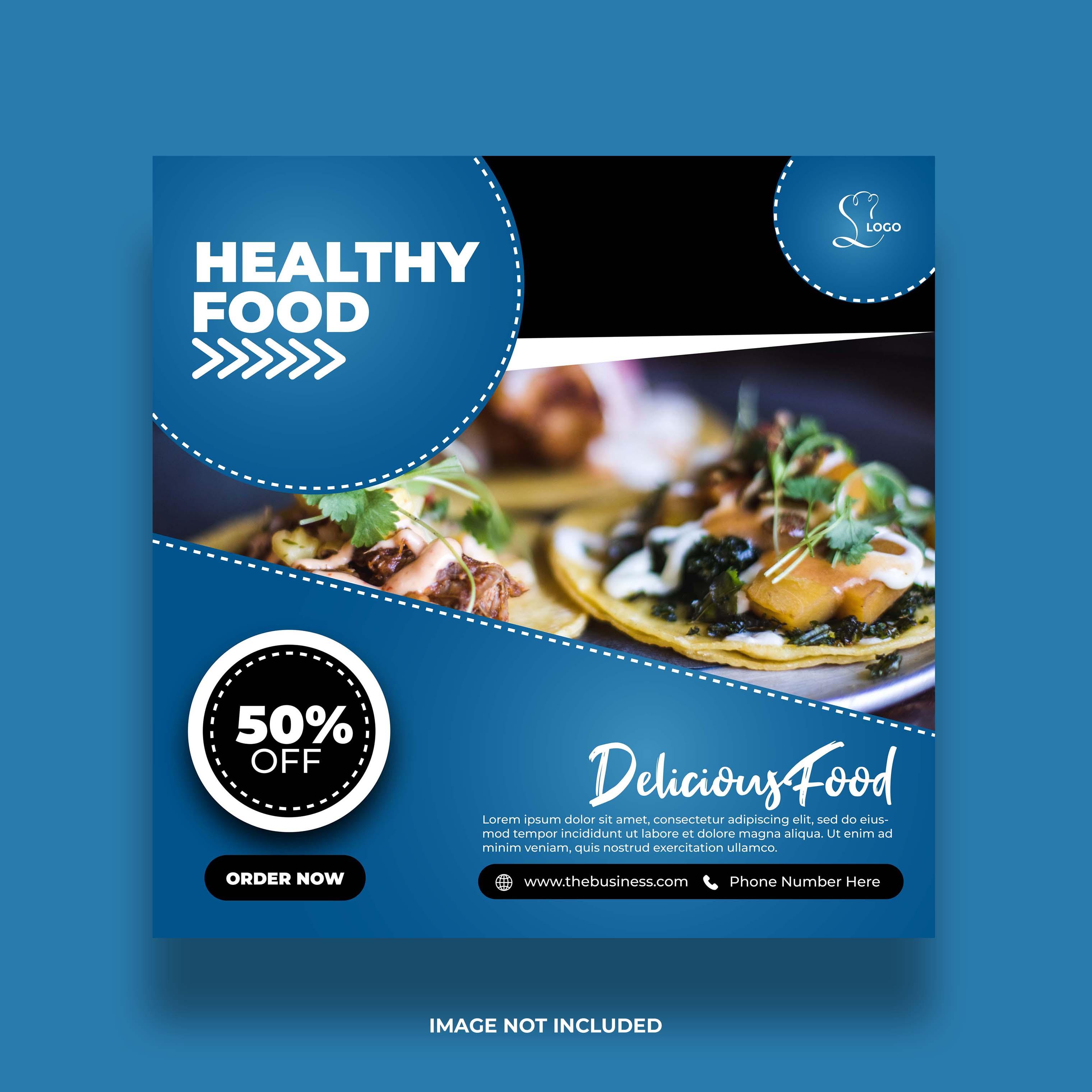 banner de comida mínima creativa para publicación de restaurante en redes sociales