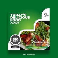 Colorful Minimal Green Restaurant Food Banner For Social Media Post vector