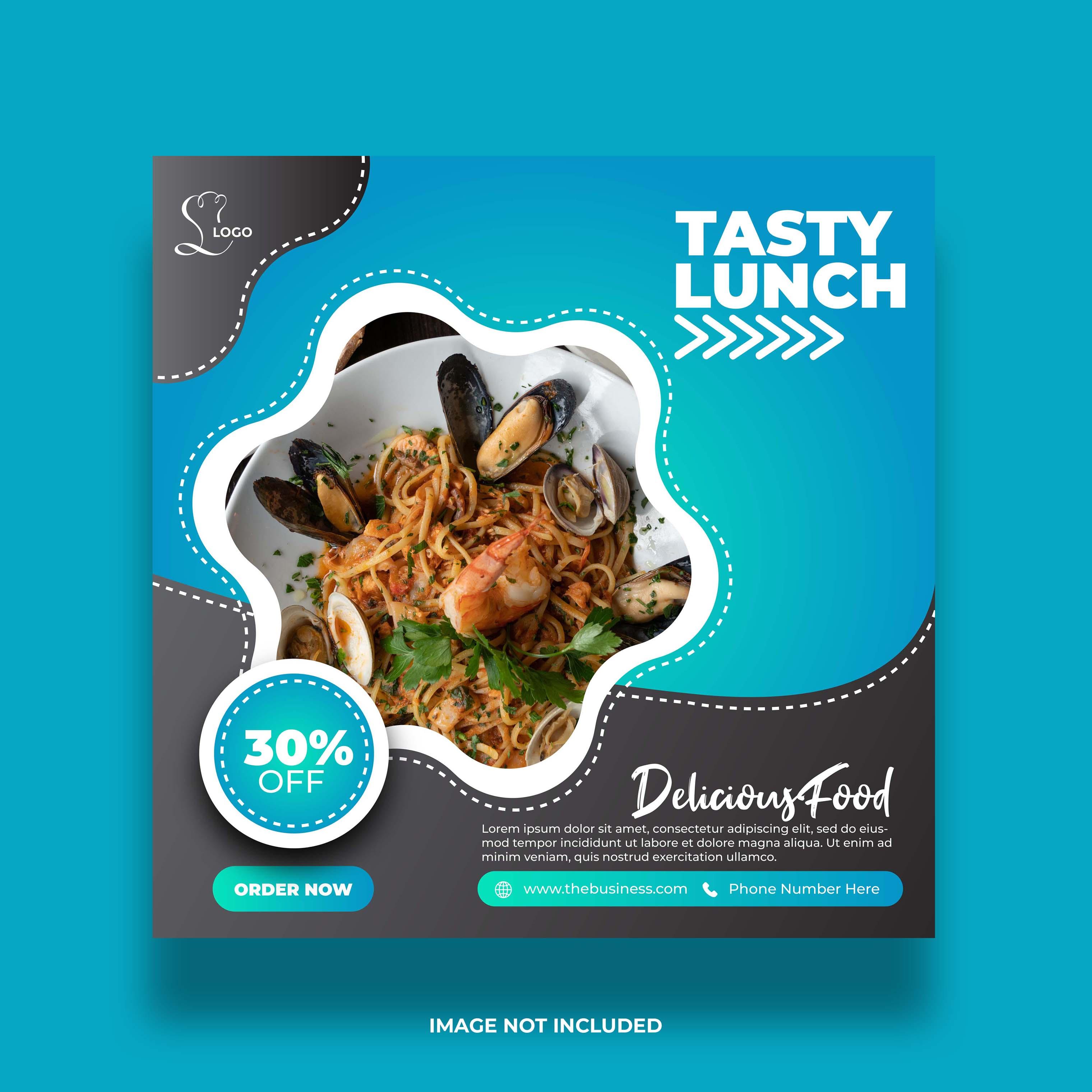 restaurante comida almoço saboroso banner de mídia social para postagem