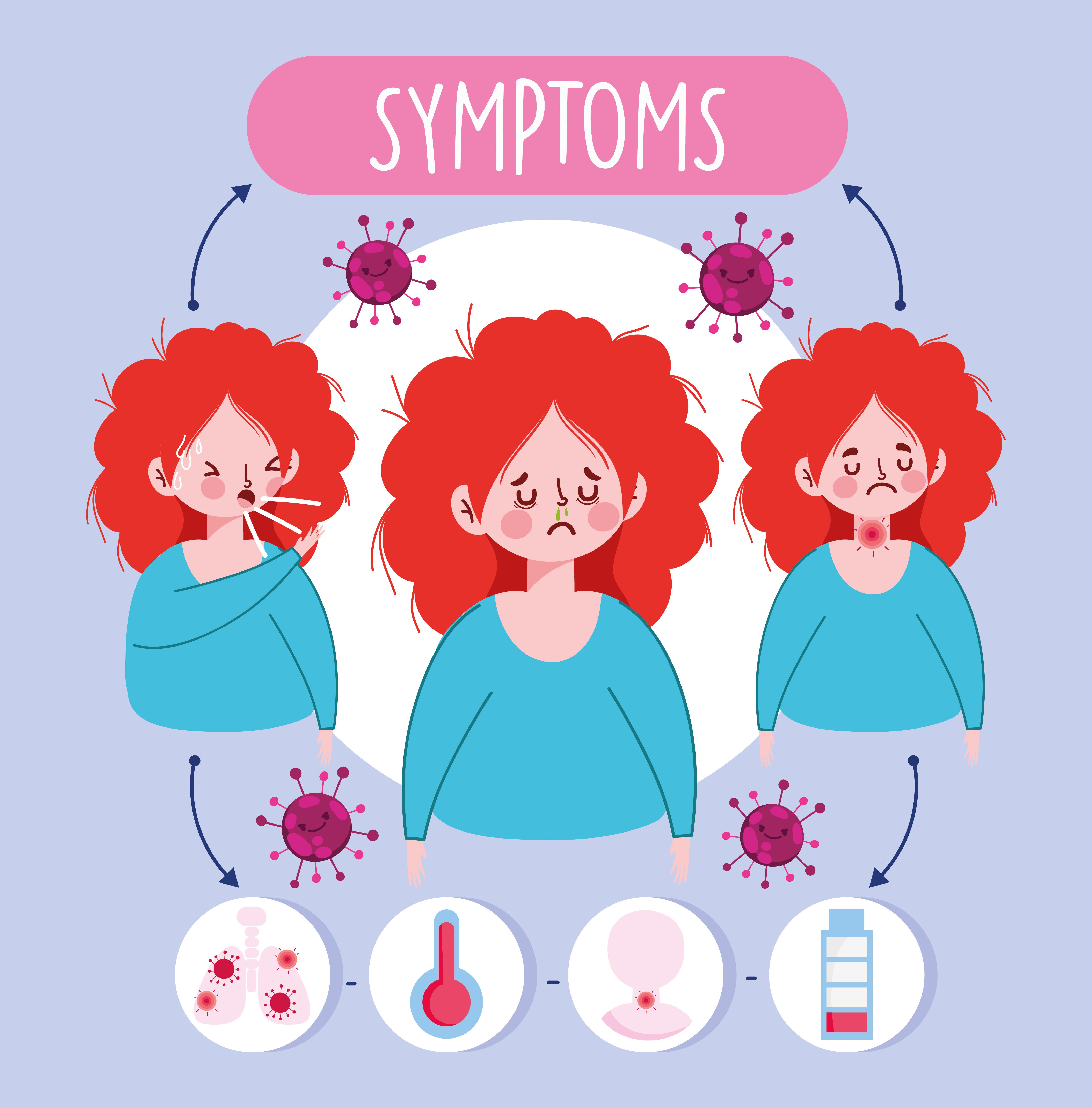niña con infografía de síntomas virales vector