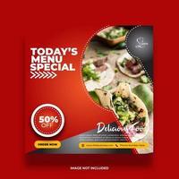 Creative Minimal Red Food Social Media Banner vector