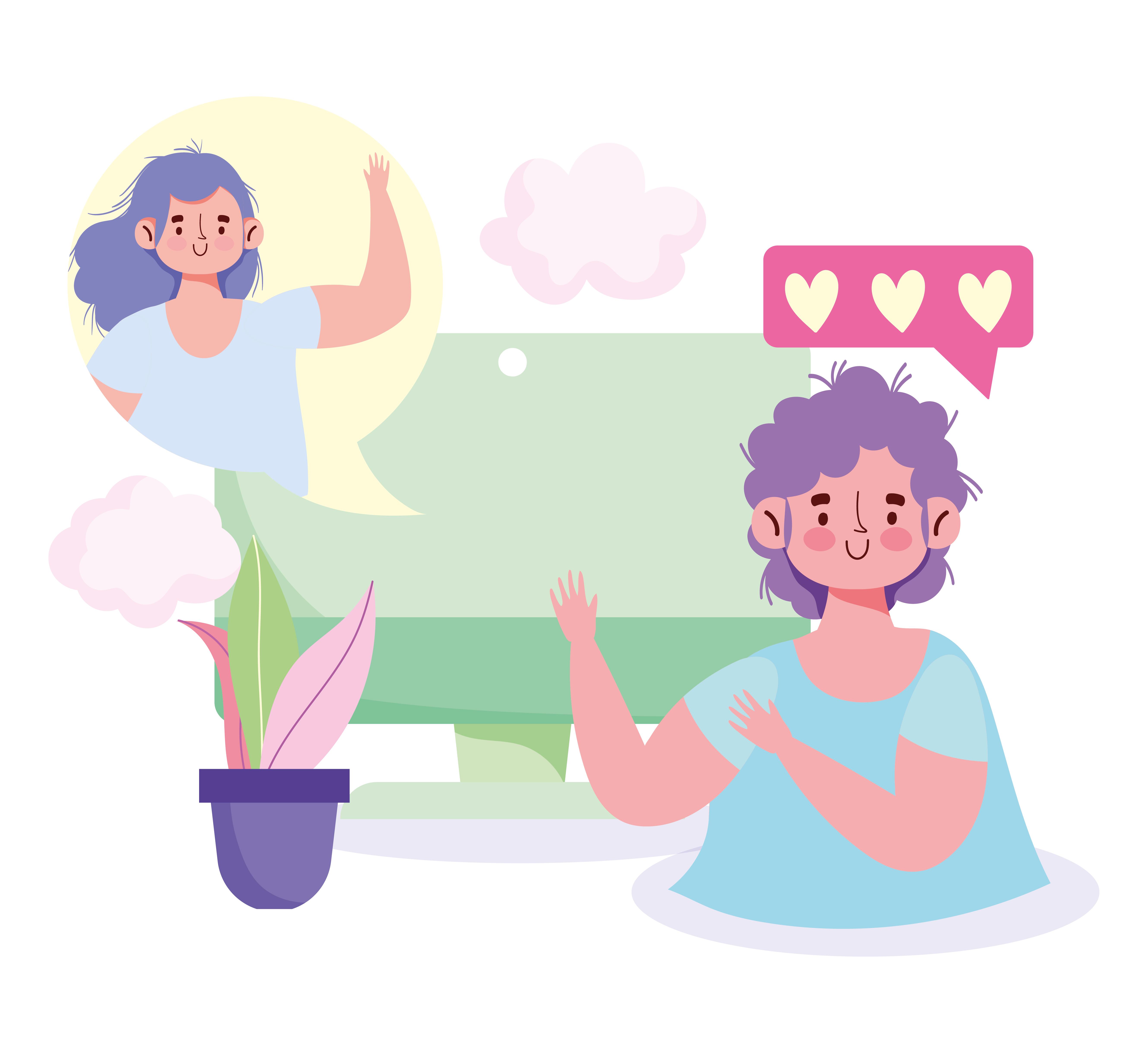 comunicação de pessoas virtualmente via computador