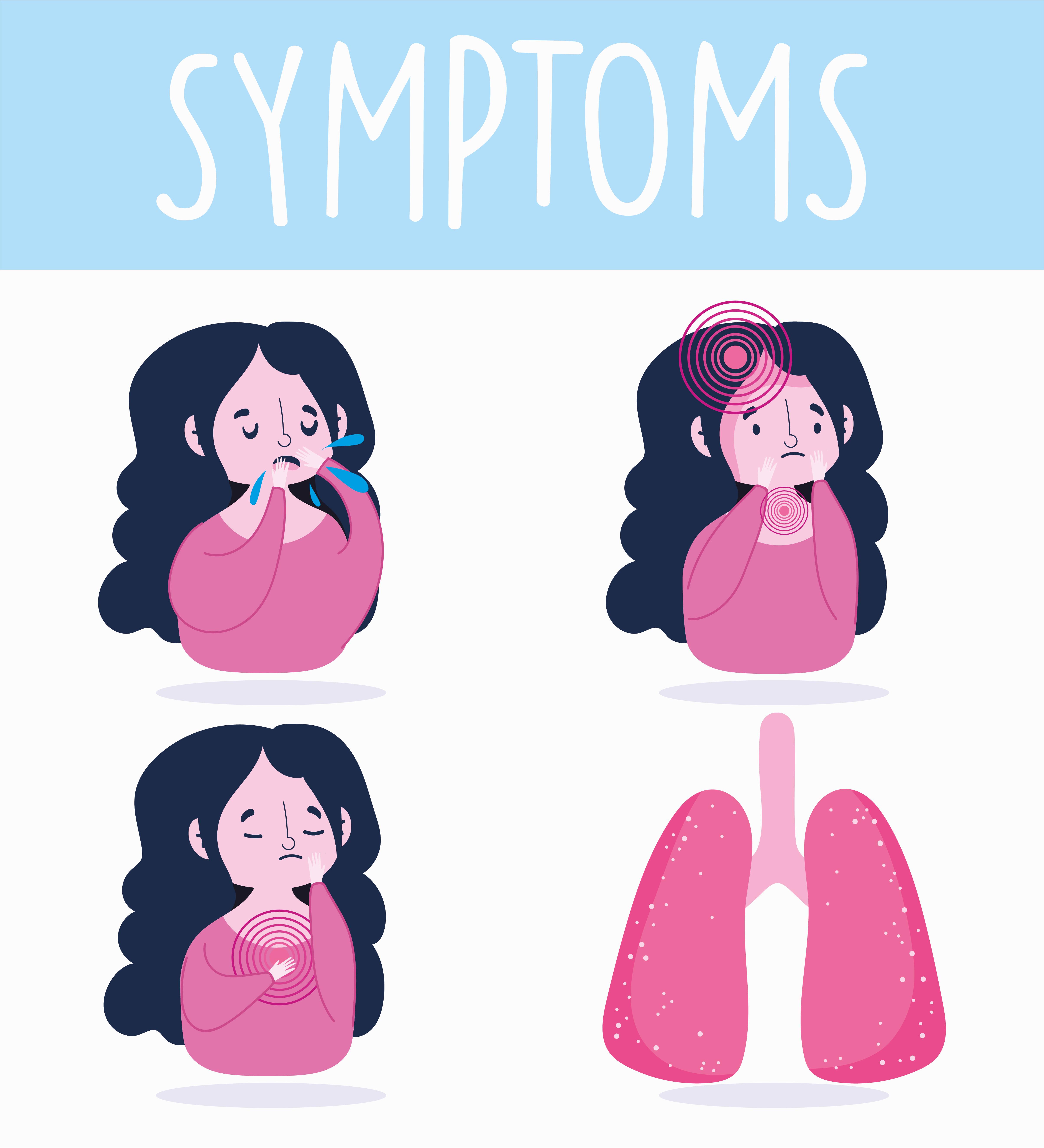 chica morena con conjunto de iconos de síntomas de enfermedad