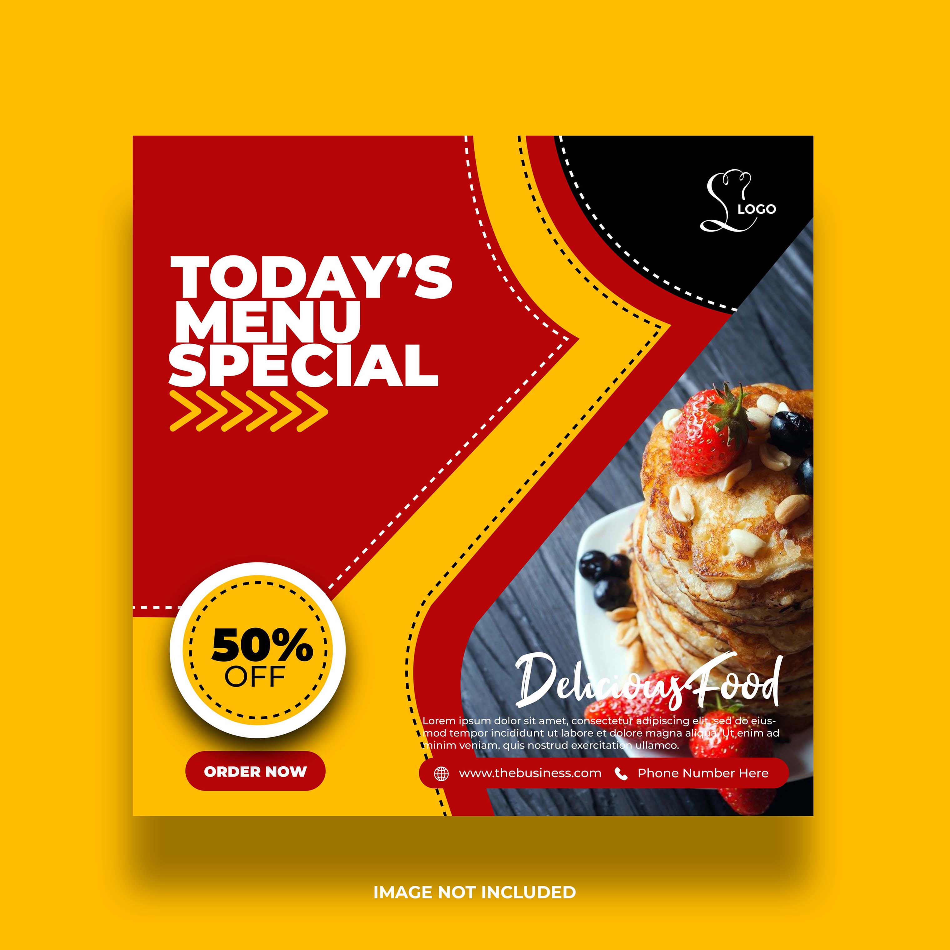 banner abstrato de mídia social de comida