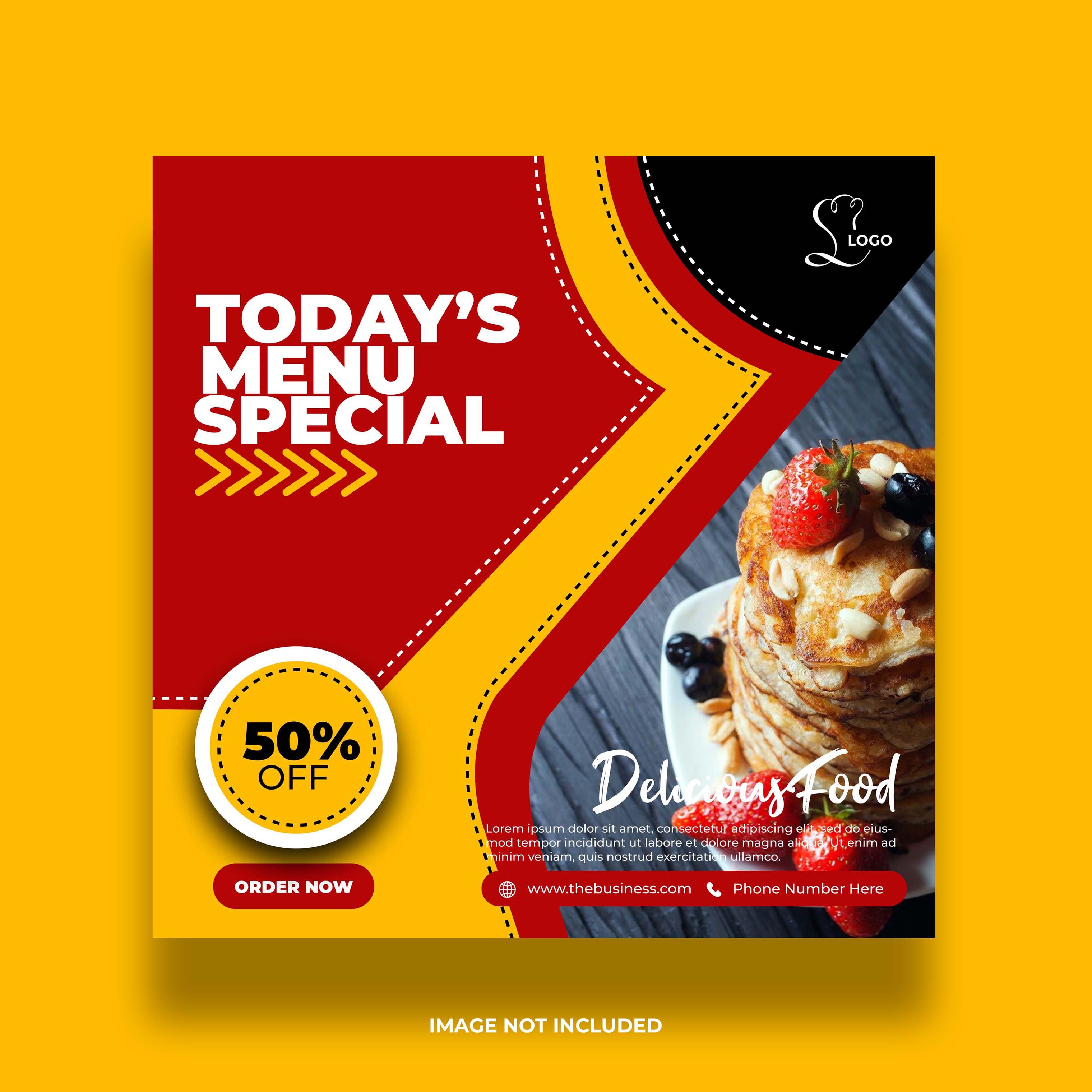 banner de redes sociales de comida abstracta