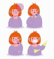 niña con conjunto de iconos de síntomas virales vector