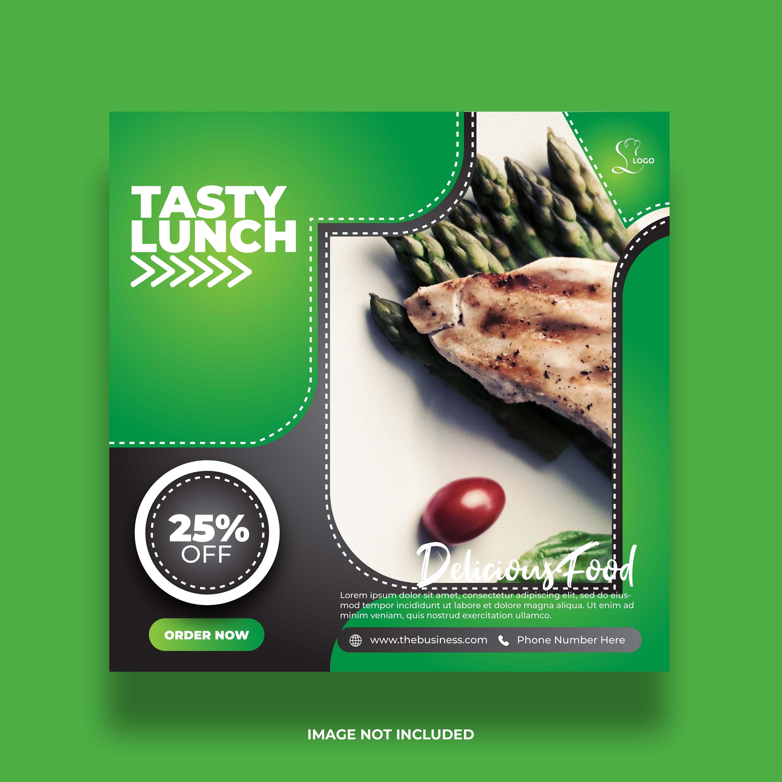 banner colorido de restaurante com comida verde mínimo para postagem nas redes sociais
