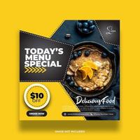 Creative Minimal Yellow Food Social Media Banner For Promotion vector