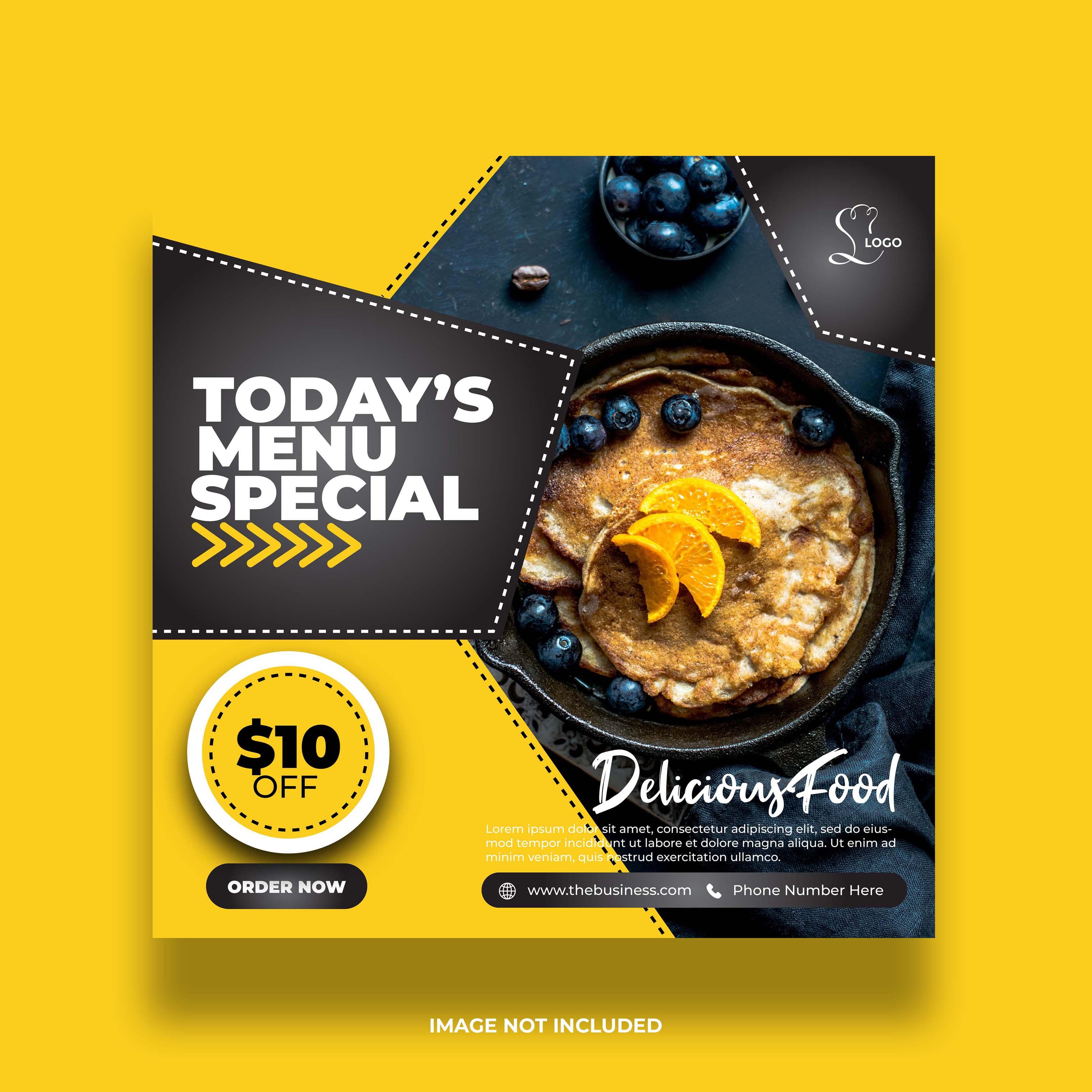 banner de mídia social de comida amarela mínima criativa para promoção