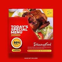 Banner de comida de menú especial para redes sociales. vector