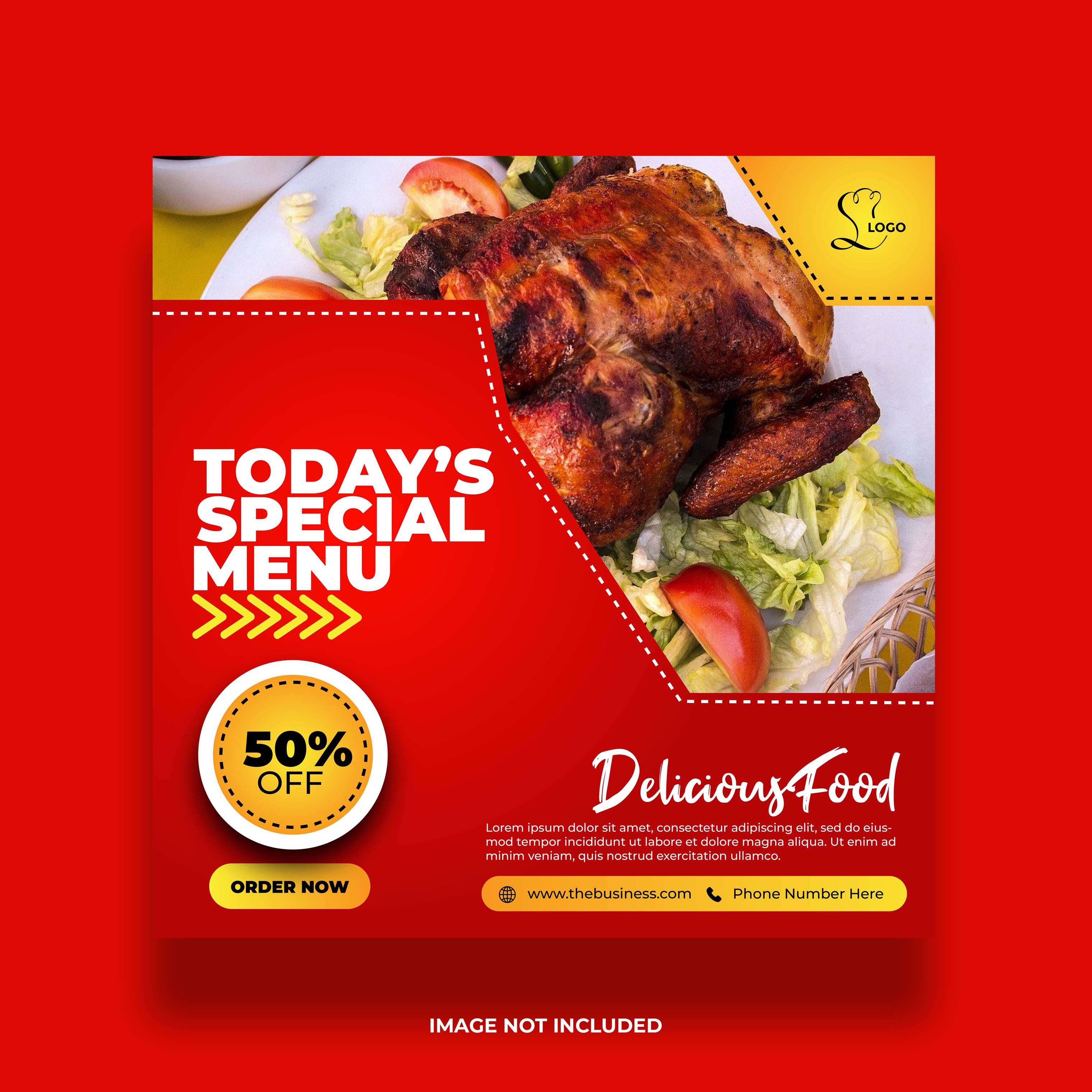 banner de comida de menu especial para mídia social