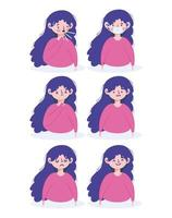 Young woman with viral symptoms icon set vector