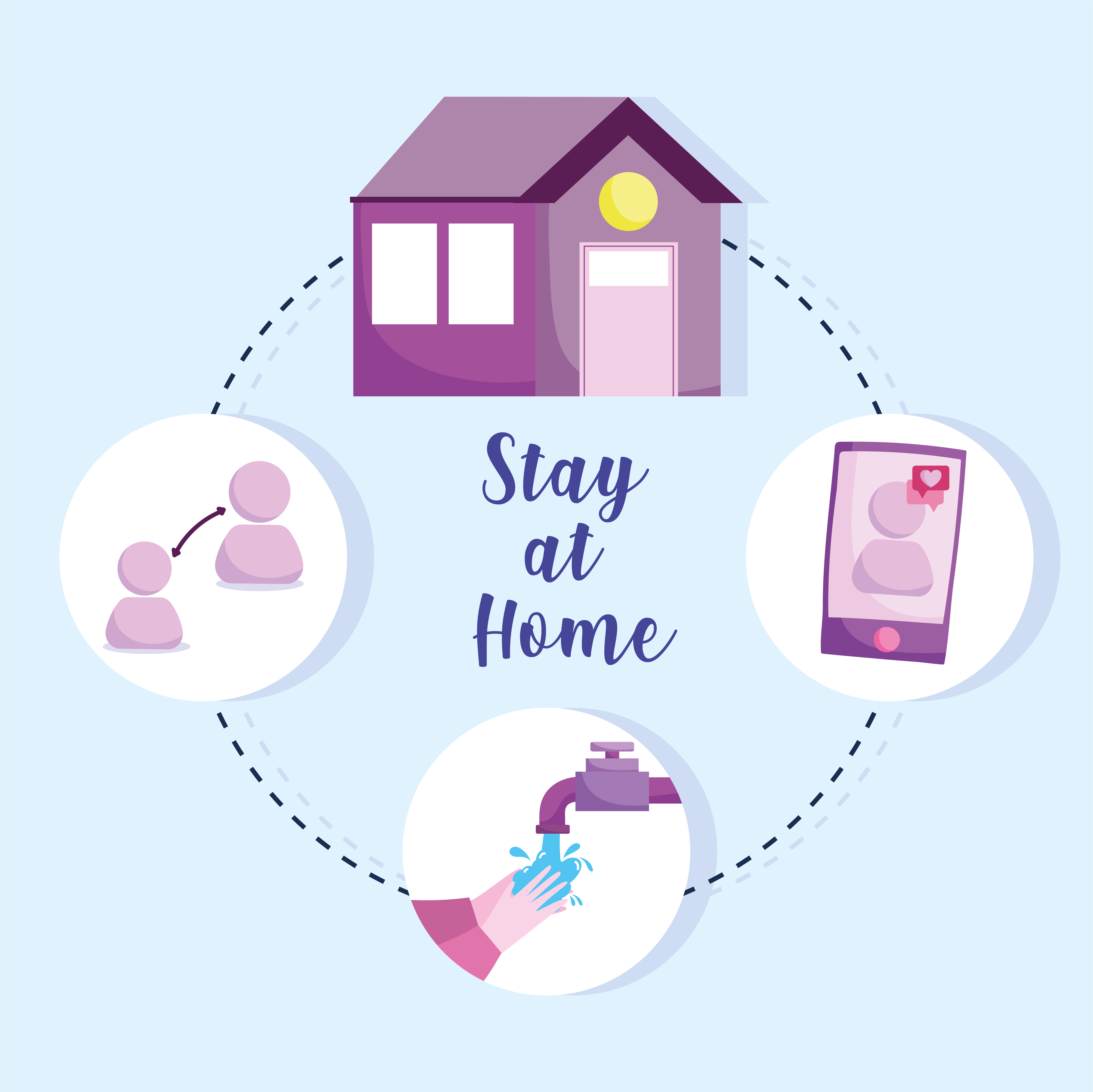 Stay at home preventive infographic