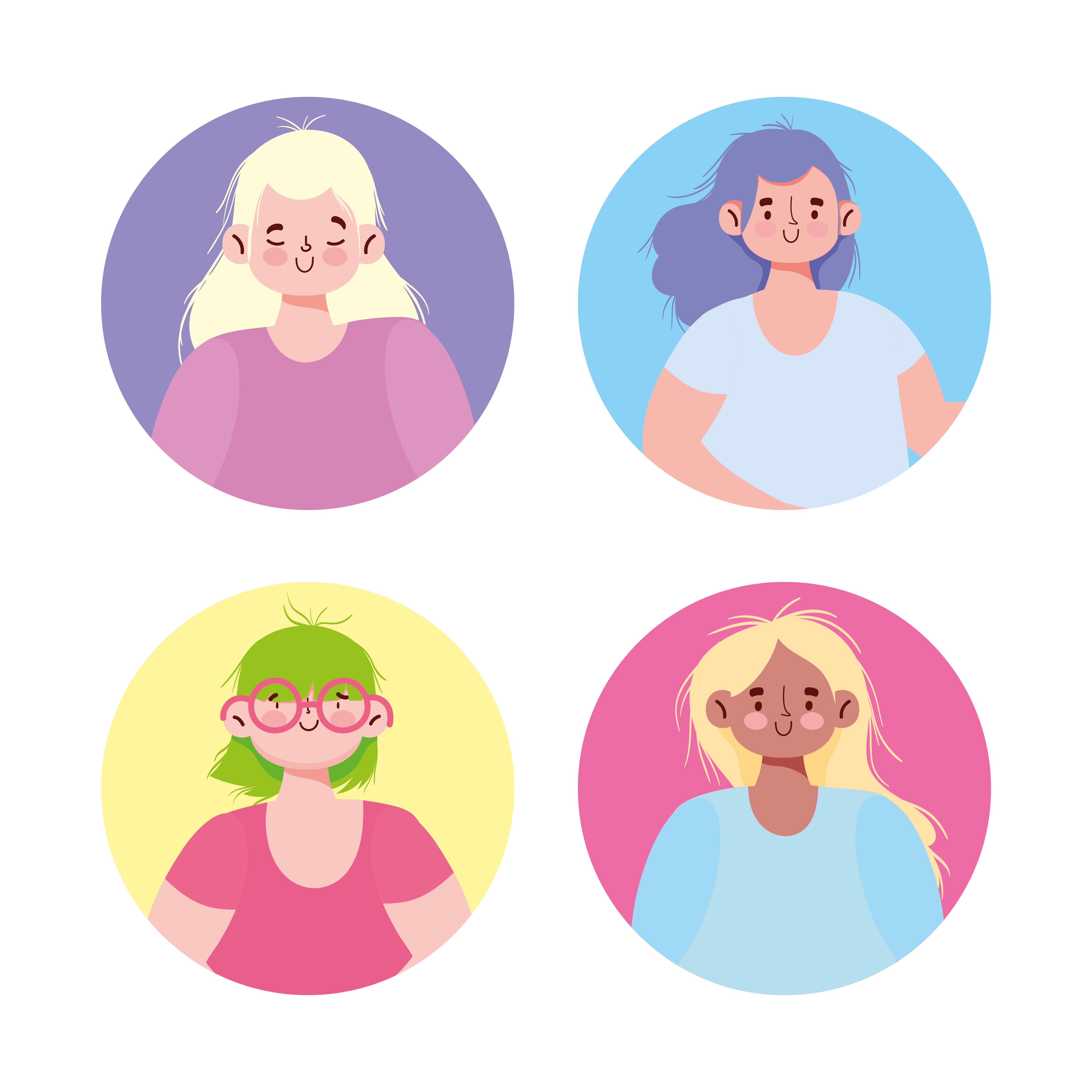 conjunto de iconos de avatar de mujeres jóvenes