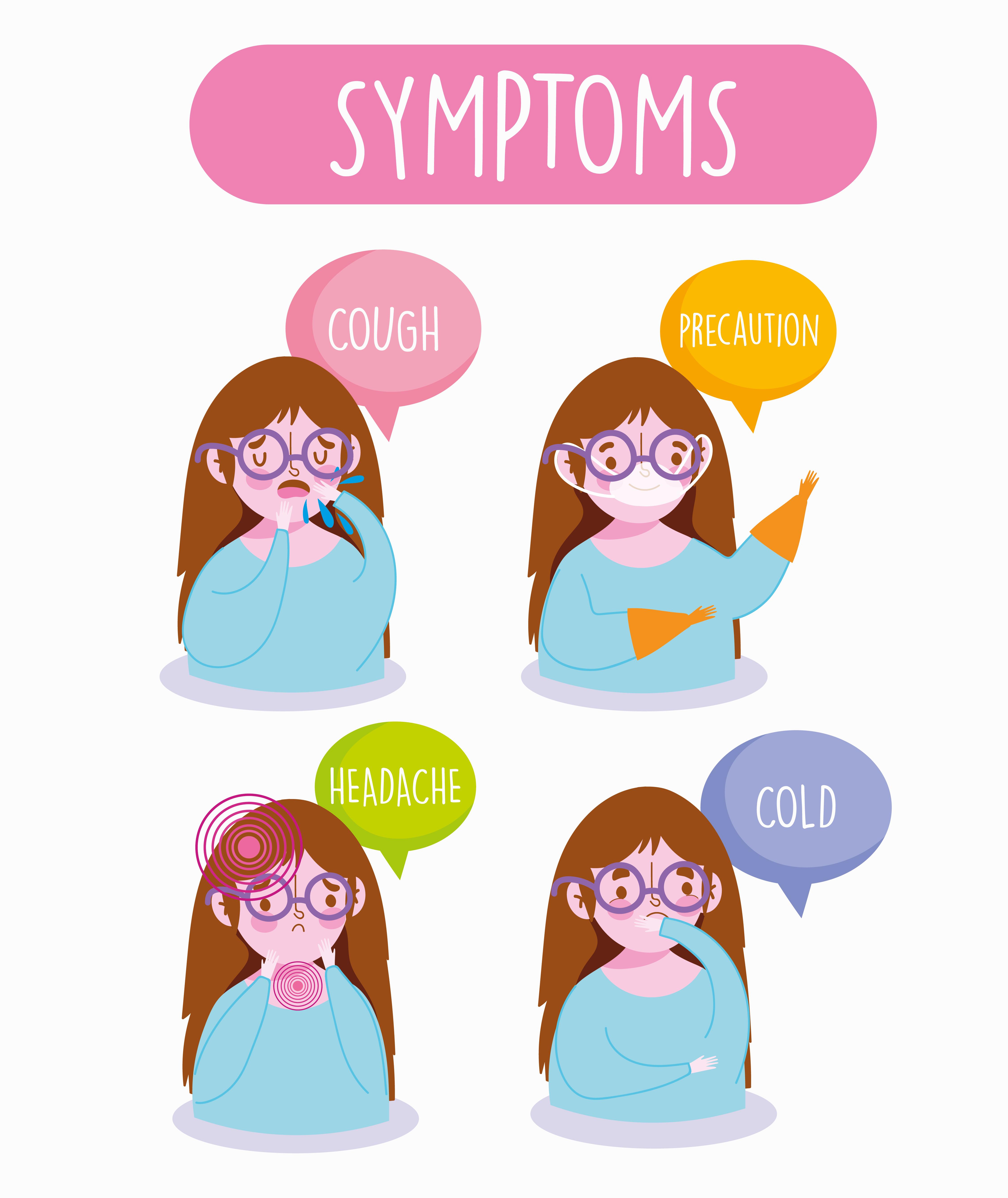 Young girl on coronavirus symptoms infographic