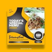 banner de comida de restaurante abstracto para redes sociales vector
